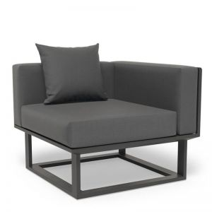 Vivara D Corner Modular Sofa Section | Matt Charcoal