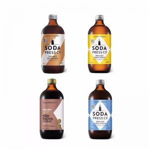 Sodastream Soda Press Assorted 4 Pack Organic Syrup Flavors 500ml -Indian Tonic, Kombucha, Cola, Lem