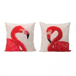 Set of 2 Pink Flamingo Cushions