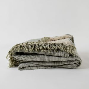 Enes Large Throw   Olive/Clay