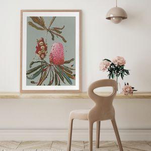 Sage Banksia | Framed Art Print