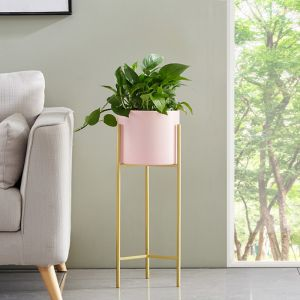 Gold Metal Plant Stand with Pink Pot Holder   2 Layer   42cm