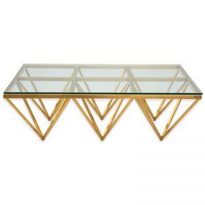 Tafari Coffee Table | Glass Top | Brushed Gold Base | 1.2m