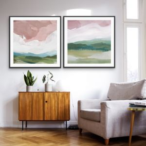 A Magic Place | Pink and Green Abstract Print Set