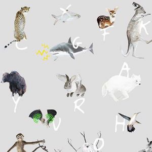 A to Z Animal Wallpaper - Grey