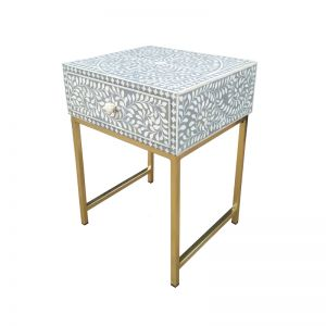 Abacus & Hunt Bone Inlay 1 Drawer Bedside Table | Grey Floral | In Stock