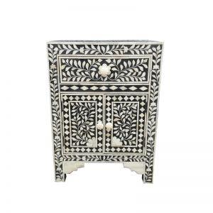 Abacus & Hunt Bone Inlay Bedside Table | Black Floral | Pre Order