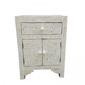 Abacus & Hunt Bone Inlay Bedside Table | White Floral | Pre Order