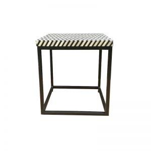 Abacus & Hunt Bone Inlay Side Table | Zig Zag | In Stock