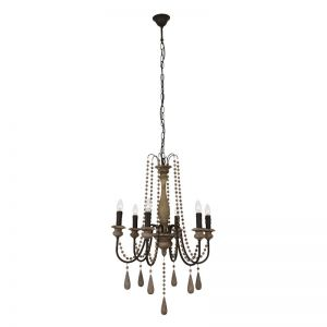 Abella 6 Light Chandelier | French Grey