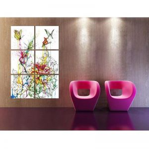 Abstract Butterfly On Flower   6 Panel Wall Art