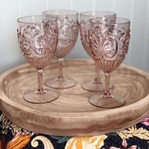Acrylic Glass | Set of 4 | Blush Pink