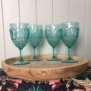 Acrylic Glass   Set of 4   Seafoam Aqua