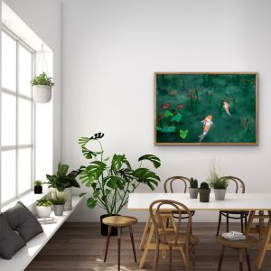 Acting Koi | Green Canvas Artwork