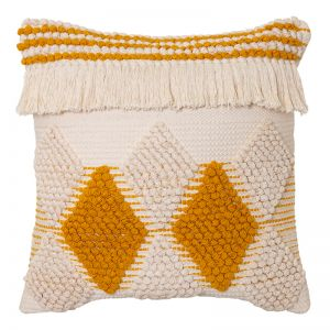 Addie Cushion | 50x50cm | Natural/Mustard