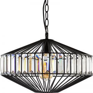 Adina Clear Crystal Pendant Light, Black | Schots