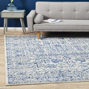 Adorn Orthodox Transitional | White/Blue/Grey Rug by Rug Addiction