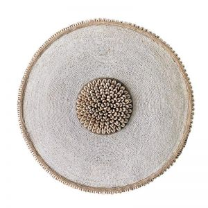 African Beaded Shield | White | by Raw Decor