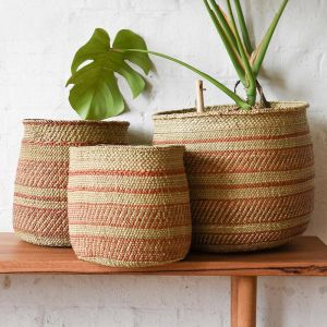 African Grass Baskets | Terracotta & Natural | by Collective Sol