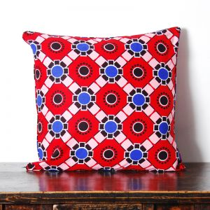 African Wax Print Cotton Cushion | Geometric