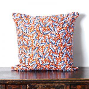 African Wax Print Cotton Cushion | Pencil Pattern