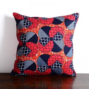 African Wax Print Cotton Cushion | Red-Navy Circle