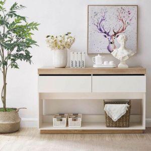 Aiden Coastal White Oak Hallway Table