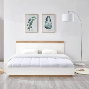 Aiden Industrial Contemporary White Oak Bed Frame