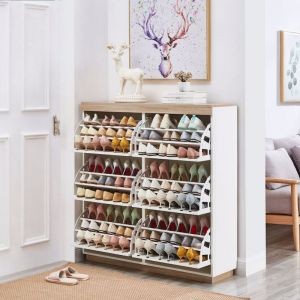 Aiden White Oak Large Shoe Cabinet