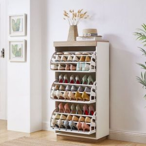 Aiden White Oak Small Shoe Cabinet