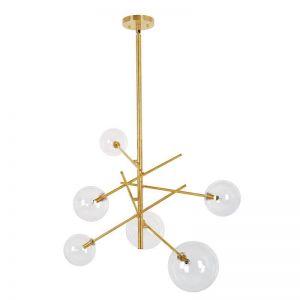 Aksel 6 Light Pendant in Brass/Clear | By Beacon Lighting