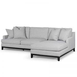 Alana 3 Seater Right Chaise Fabric Sofa - Grey