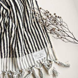 Albatross Hand Towel | Black & White Stripes
