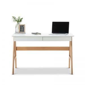 Aleksander 2 Drawer Writing Desk | White & Oak