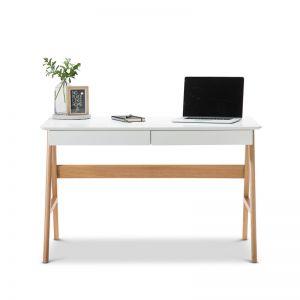 Aleksander 2 Drawer Writing Desk | White & Oak