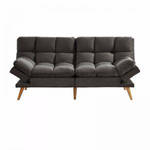 Alexa 3 Seater Velvet Sofa Bed | Charcoal