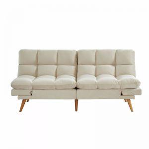 Alexa 3 Seater Velvet Sofa Bed Futon Cream