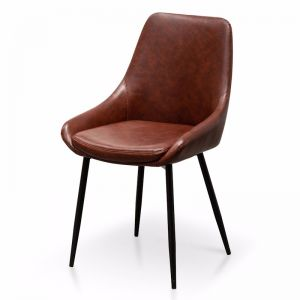 Alfie Dining Chair | Cinnamon Brown PU Leather | Set of 2