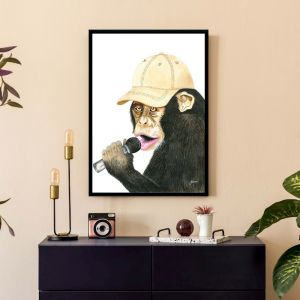 Alfie the Singing Monkey by Pick a Pear | Framed Wall Art