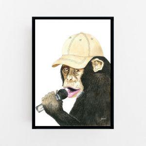 Alfie the Singing Monkey Wall Art Print   by Pick a Pear    Unframed