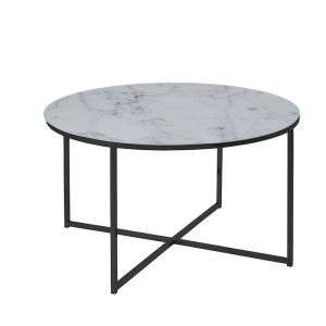 Alisma Glass Marble Round Coffee Table | 80cm | White