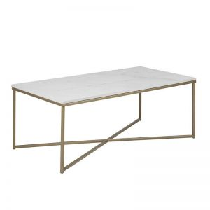 Alisma Marble Coffee Table | 120cm | White & Brass