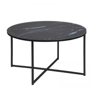 Alisma Marble Glass Round Coffee Table | 80cm | Black