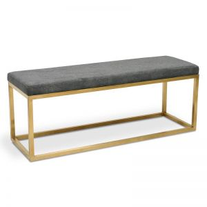 Alma Gunmetal Grey Ottoman with Golden Base