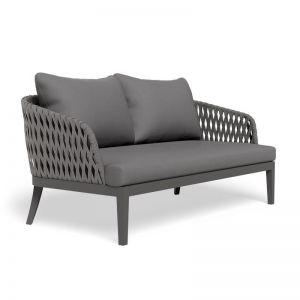 Alma Outdoor 2 Seater Lounge Chair | Matt Charcoal with Dark Grey Cushion