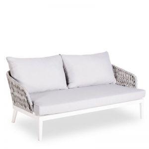Alma Outdoor 2 Seater Lounge Chair | Matt White Aluminium with Light Grey Cushion