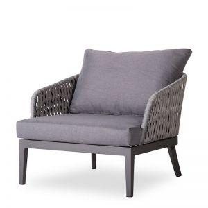 Alma Outdoor Single Lounge Chair | Matt Charcoal Aluminium with Dark Grey Cushion