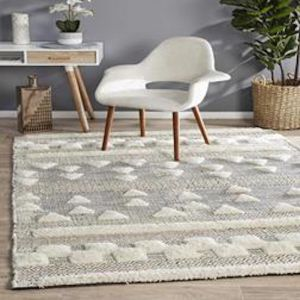 Almore Tufts | Wool Ivory Charcoal Rug -PREORDER  FOR LATE JANUARY 2021