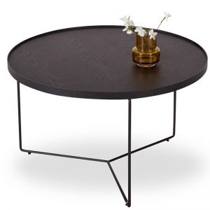 Alora Medium Coffee Table | Black Stained American Ash with Black Legs