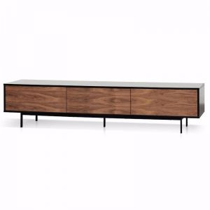 Alto Wooden TV Entertainment Unit | Walnut Drawers & Black Frame | 2.3m
